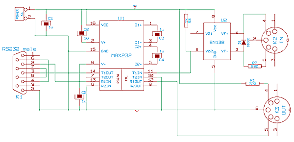 Usb To Rs232 Converter Schematic: A MIDI to RS232 adapter (electronic circuit)rh:compuphase.com,Design