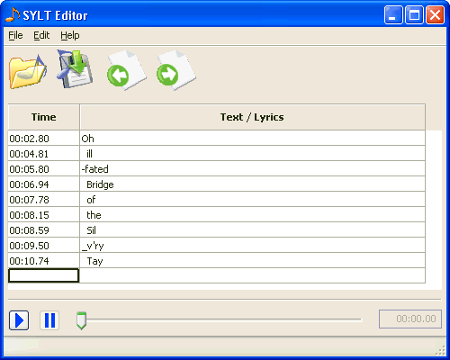 Screen-shot of the SYLT Editor