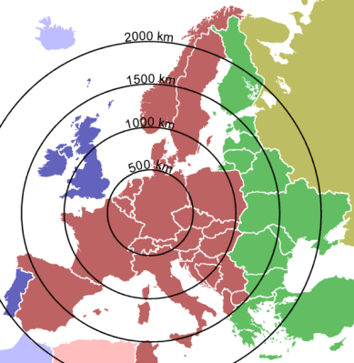 Ranges of the DCF77 signal, and time zones in Europe