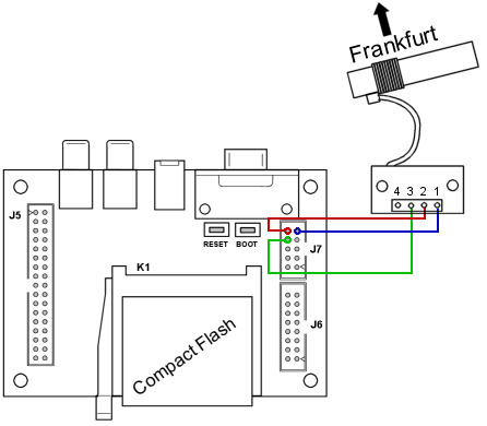 Schematic for connecting the DCF77 receiver to the H0420