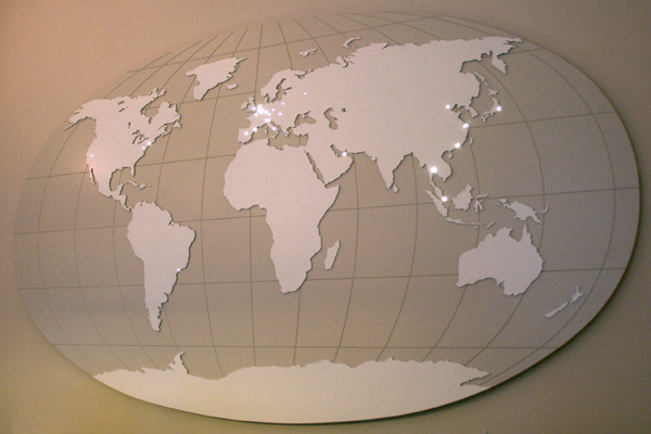 World map with light points